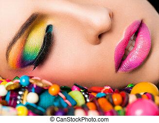 kvinna uppsyn, färgglatt, smink, läpp