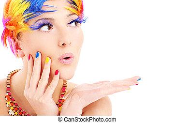 kvinna uppsyn, och, färg, hår