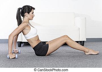 kvinna, utbildning, med, vikter