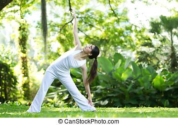 kvinna, utföre, yoga