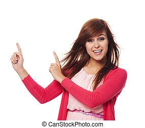 kvinna, utrymme, pekande, avskrift, rosa, vacker