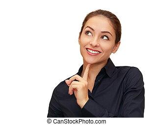 kvinna, utrymme, tänkande, isolerat, se, le, avskrift, vit, tom