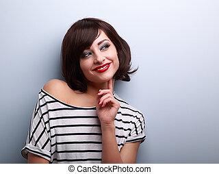 kvinna, utrymme, tänkande, ungt se, avskrift, lycklig