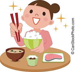kvinna, utsökt, ätande mål