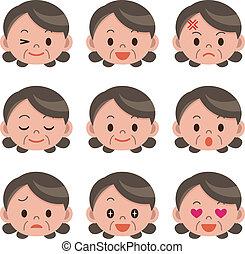 kvinna, uttryck, ansiktsbehandling