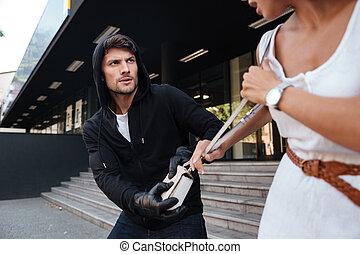kvinna, väska, gata, stöld, brottsling, man