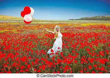 kvinna, vallmo, stående, romantisk, fält, klänning, vit