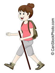 kvinna vandring