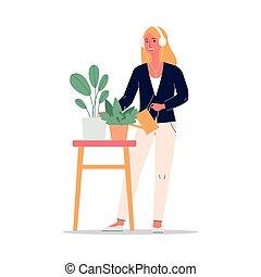 kvinna, vattning, vektor, illustration, hörlurar, houseplants, lägenhet, isolated.