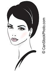 kvinna, vektor, illustration, ansikte
