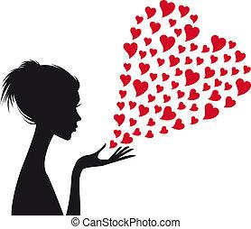 kvinna, vektor, röd, hjärtan