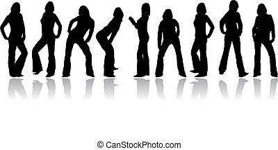 kvinna, vektor, sätta, silhouettes