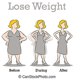 kvinna, vikt, förlora