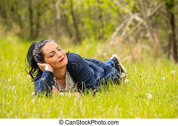 kvinna, vila, in, natur