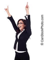 kvinna, vinnande, affär