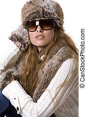 kvinna, vinter