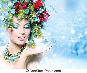 kvinna, vinter, henne, mirakel, hand, jul
