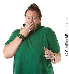 kvinna, visande, chock, eller, täcke, a, rapning