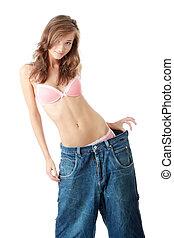 kvinna, visande, hur, mycket, vikt, hon, lost.