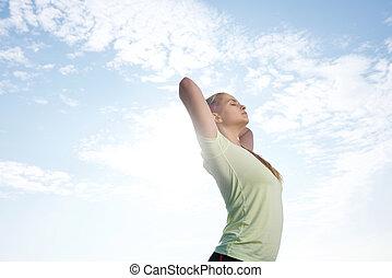 kvinna,  yoga, genomkörare, sträckande, utanför, Övning