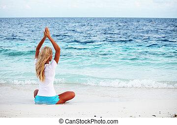 kvinna, yoga