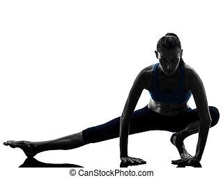 kvinna, yoga, sträckande, uppe, exercerande, varm, ben