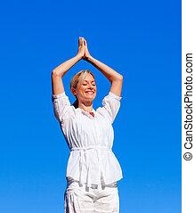 kvinna, yoga, ung