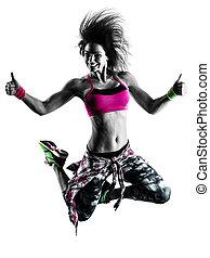 kvinna, zumba, fitness, träningen, dansare, dansande, isolerat, silhuett