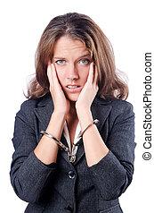 kvinnlig, affärskvinna, med, handklovar, vita