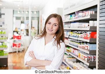 kvinnlig, apotekaren, hos, apotek, lager