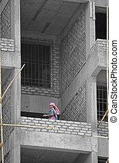 kvinnlig, arbetare, hos, konstruktion sajt