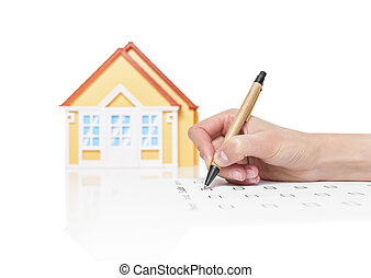 kvinnlig, avtal, hus, underteckna