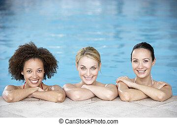 kvinnlig, badbassäng, vänner, tre
