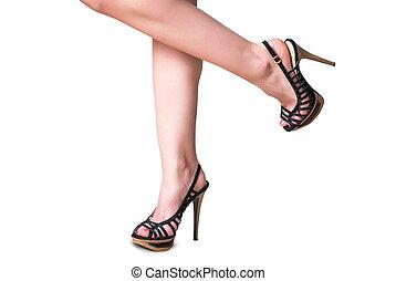 kvinnlig, ben, med, den, skor