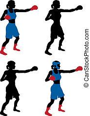 kvinnlig, boxare, boxning