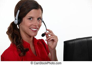 kvinnlig, call-center, medel