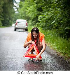 kvinnlig, chaufför, yrke, den, service