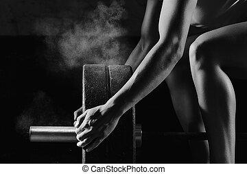 kvinnlig, fitness, atlet, exercerande