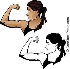 kvinnlig, fitness, kvinna, böja, arm, illustration