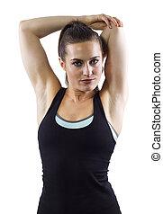 kvinnlig, fitness, sträckande