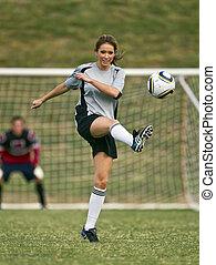 kvinnlig, fotboll spelare
