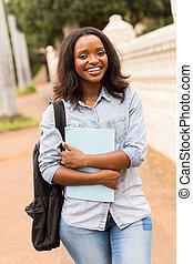kvinnlig, högskola studerande, gå, till, klassificera