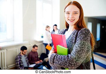 kvinnlig, högskola studerande
