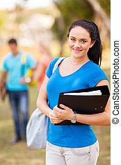 kvinnlig, högskola studerande, utomhus