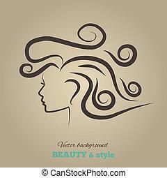 kvinnlig, huvuden, med, vacker, hair., vektor