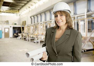 kvinnlig, ingenjör, in, fabrik