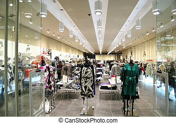 kvinnlig, kläder, in, butik