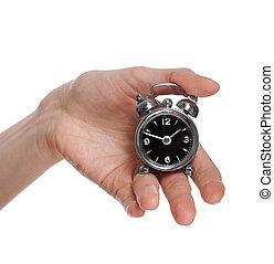kvinnlig, klocka, alarm, hålla lämna, liten
