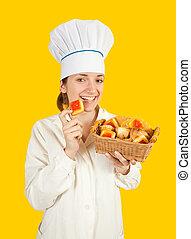 kvinnlig, kock, med, karamell