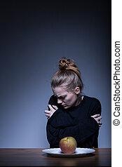 kvinnlig, lidande, från, anorexi